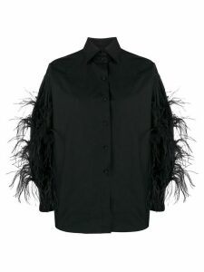 Valentino feather detailed shirt - Black