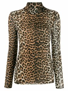 GANNI mesh leopard top - Brown