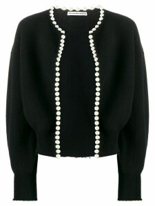 Alexander Wang cropped pearl embellished cardigan - Black