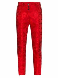 Ann Demeulemeester jacquard slim fit trousers - Red