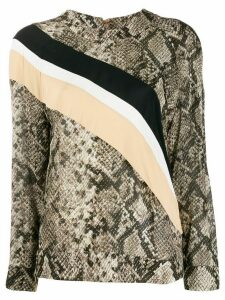 Cavalli Class snakeskin print loose-fit top - Brown