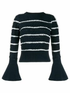 Self-Portrait flared cuff striped pattern jumper - Blue