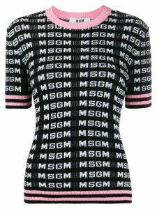 MSGM knitted logo-pattern T-shirt - Black