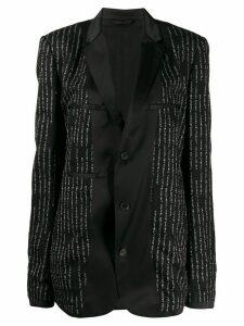 Unravel Project logo print single-breasted blazer - Black