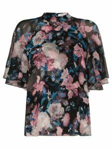 Erdem Bennett floral flowy sleeve top - Black