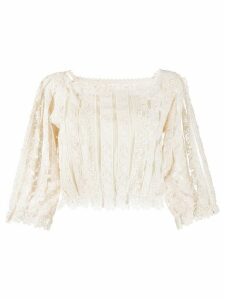 RedValentino cropped lace top - NEUTRALS