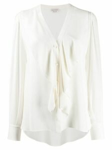 Alexander McQueen ruffle-front long-sleeve blouse - White