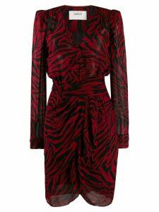 Ba & Sh zebra print wrap dress - PINK