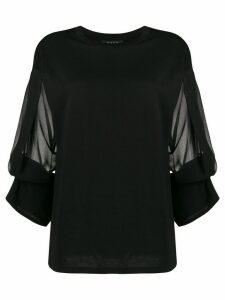 DKNY cropped sheer sleeved top - Black