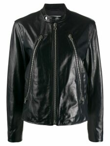Mm6 Maison Margiela collarless leather jacket - Blue