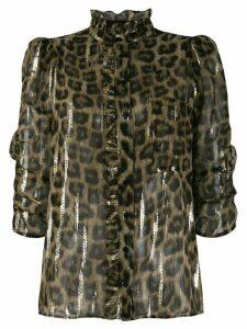 Ba & Sh leopard print short-sleeve top - NEUTRALS