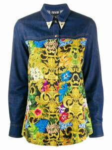 Versace Jeans Couture Barocco print denim shirt - Blue
