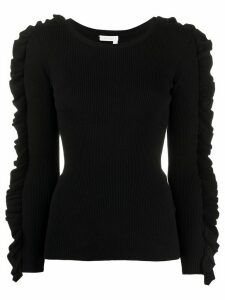 Chloé ruffle-trimmed ribbed sweater - Black