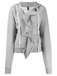 Unravel Project ruffle trim hoodie - Grey