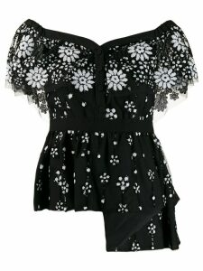 Self-Portrait floral embroidered blouse - Black