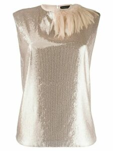 Fabiana Filippi sequin feathered top - SILVER