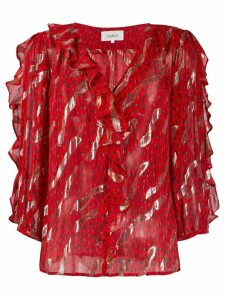 Ba & Sh leopard print frill blouse - Red