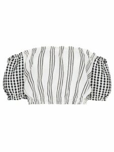 lemlem Tigist striped off-the-shoulder crop top - White