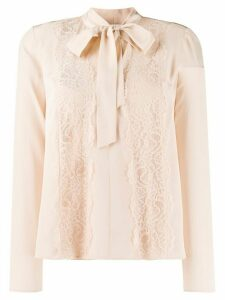 RedValentino lace panel pussy-bow blouse - NEUTRALS