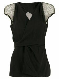 Rick Owens silk gathered wrap top - Black