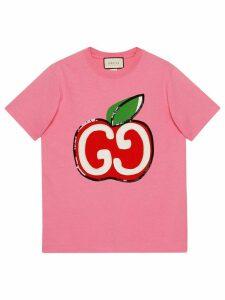Gucci GG Apple print T-shirt - PINK