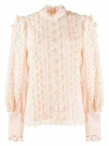 Zimmermann Flutter butterfly embroidered blouse - PINK