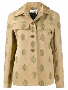 Chloé embroidered multi-logo shirt jacket - Brown
