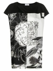Salvatore Ferragamo monochrome printed top - Black