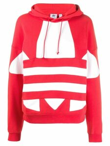 adidas logo print cotton hoodie - Red