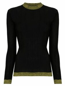 GANNI ribbed contrast detail jumper - Black