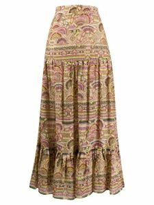Chufy pleated patterned maxi skirt - NEUTRALS