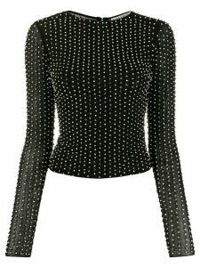 Alice+Olivia Delaina crystal-embellished tulle top - Black