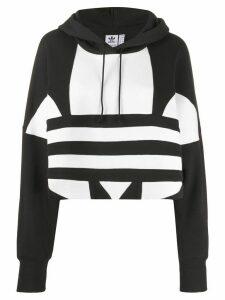adidas logo print cotton hoodie - Black