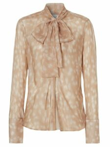 Burberry deer print pussybow blouse - NEUTRALS