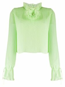 Marco De Vincenzo pleated flower detail blouse - Green
