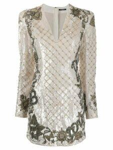 Balmain sequin-embellished short dress - White