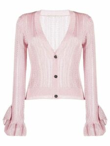 Marco De Vincenzo sheer ruffled-cuffs cardigan - PINK