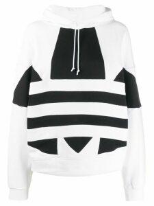 adidas logo print cotton hoodie - White
