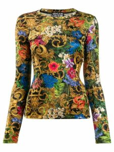 Versace Jeans Couture fitted baroque print top - Black