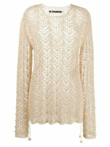 Jil Sander sheer knitted jumper - NEUTRALS