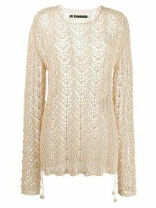Jil Sander sheer knitted jumper - NEUTRALS