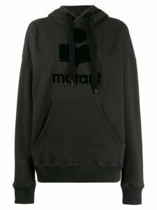 Isabel Marant Étoile boxy fit logo print hoodie - Black