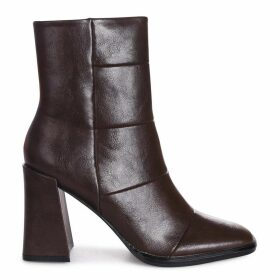 SIMPLY - Brown Nappa Square Toe Boot With Block Heel
