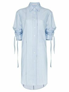 JW Anderson Ruched sleeve pinstripe shirt dress - Blue