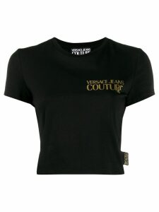 Versace Jeans Couture metallic logo print cropped T-shirt - Black