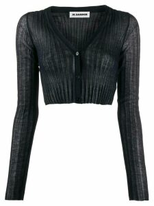 Jil Sander semi-sheer cropped cardigan - Blue