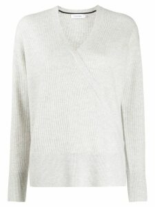Calvin Klein wrap front ribbed-knit jumper - Grey