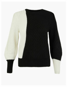 M&S Collection Colour Block Blouson Sleeve Jumper