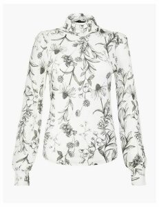 M&S Collection Floral Print Long Sleeve Fitted Top