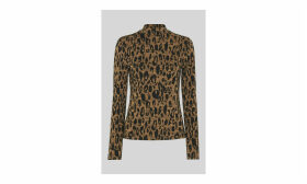 High Neck Animal Jaquard Top